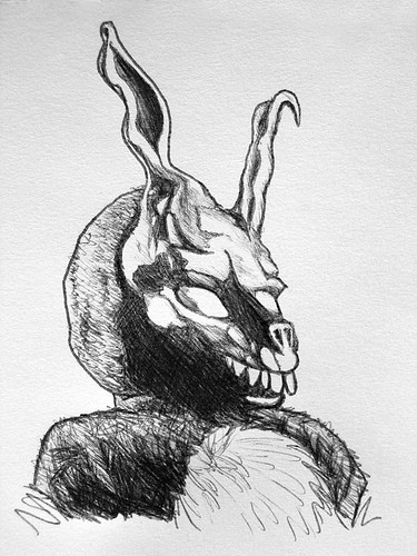 Drawn rabbid donnie darko frank  Donnie Darko Drawing Rabbit
