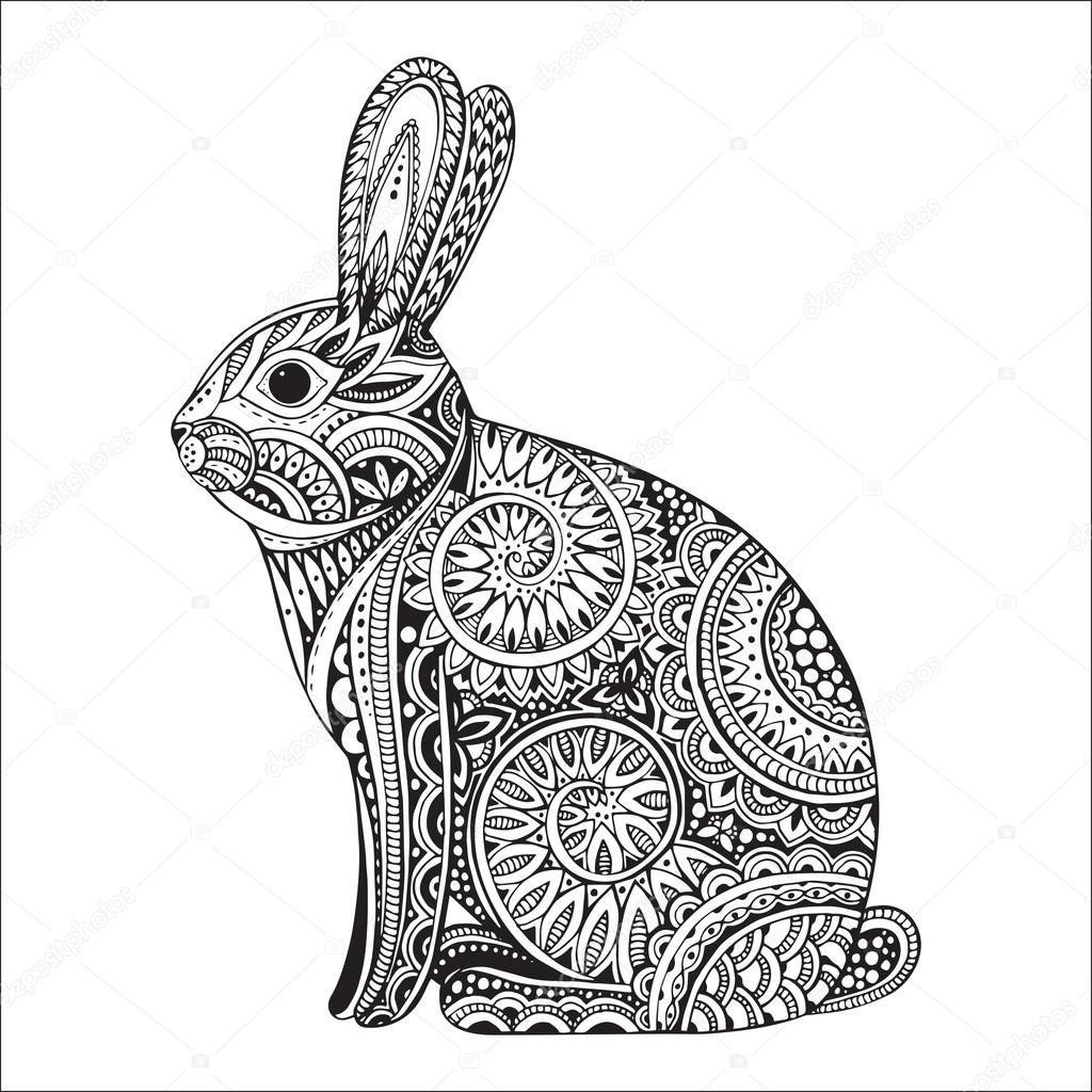 Drawn rabbit doodle Hand ornate floral Hand pattern