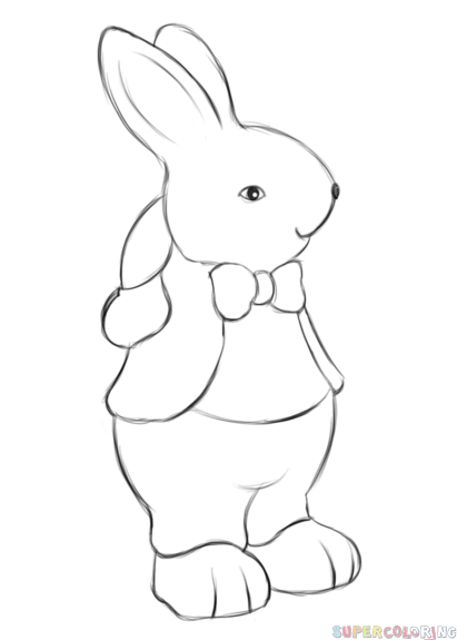 Drawn rabbit easter bunny Bunny step How Easter How