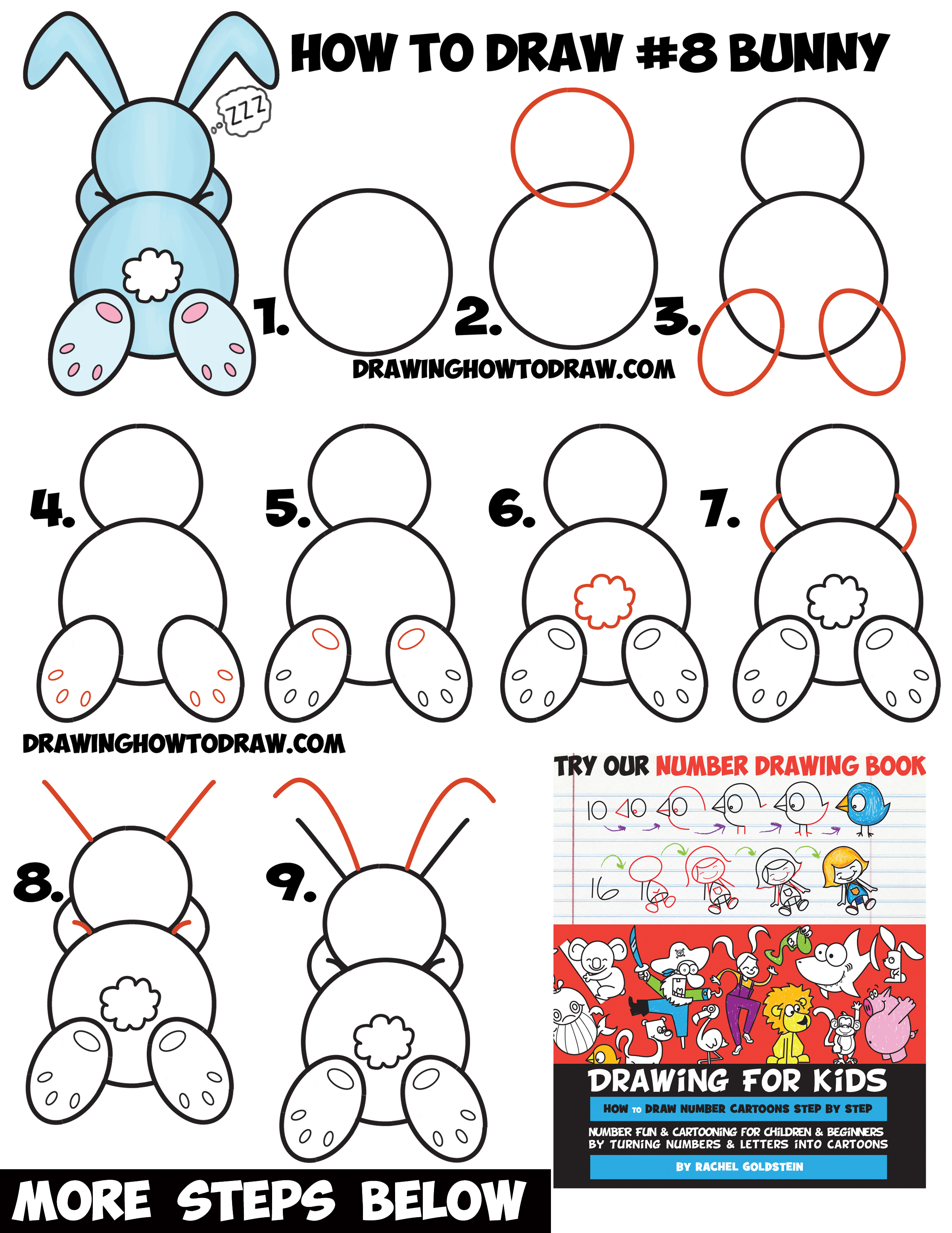 Drawn rabbit easy draw Shape Cute How to Easy