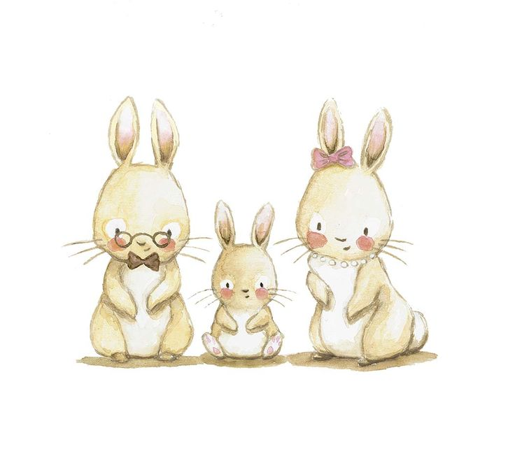 Drawn rabbid family drawing Family illustration on bunny images