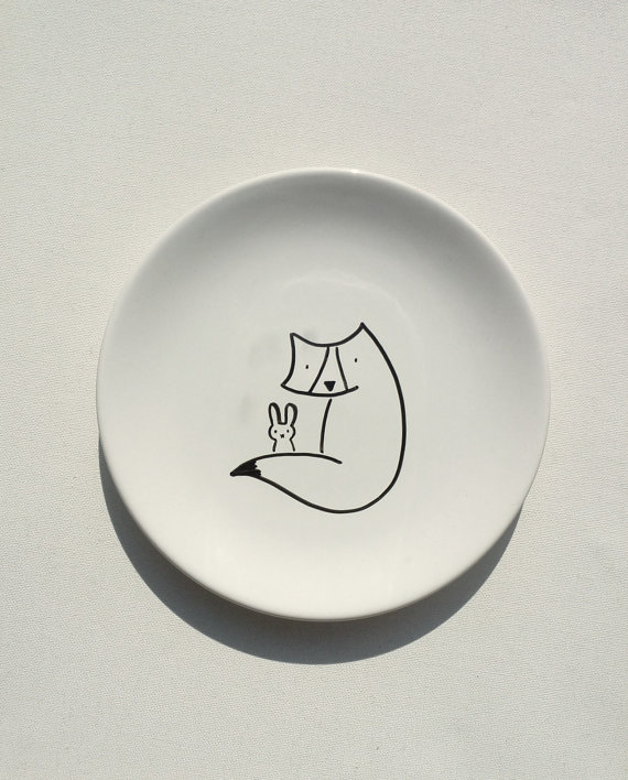 Drawn rabbit fox Illustrated Hand  Plate Plate