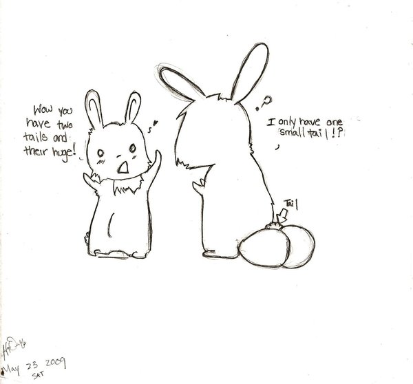 Drawn rabbit funny bunny Tails Funny Hopia two tails