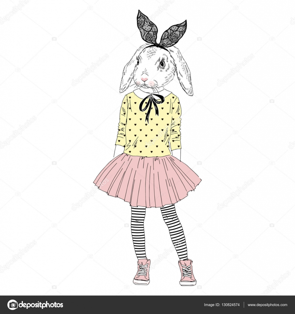 Drawn rabbit furry animal Hipster art Stock  in