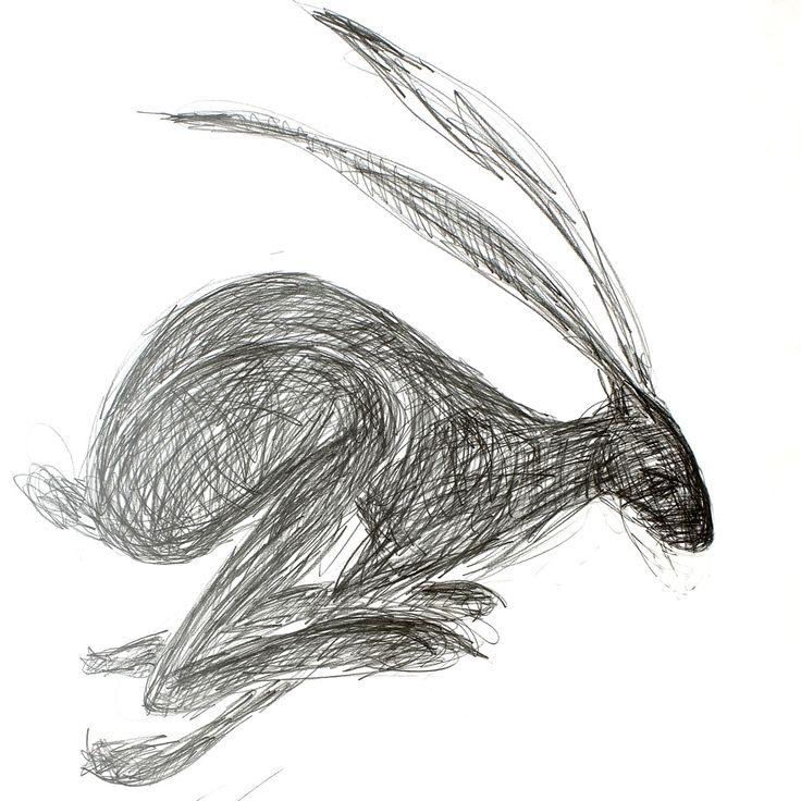 Drawn rabbit hare Line drawing Rabbit Fiber Google