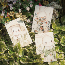 Drawn rabbit healing Dyed com postcards warm from