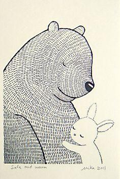 Drawn rabbit healing & MiKa Bunny Art Print