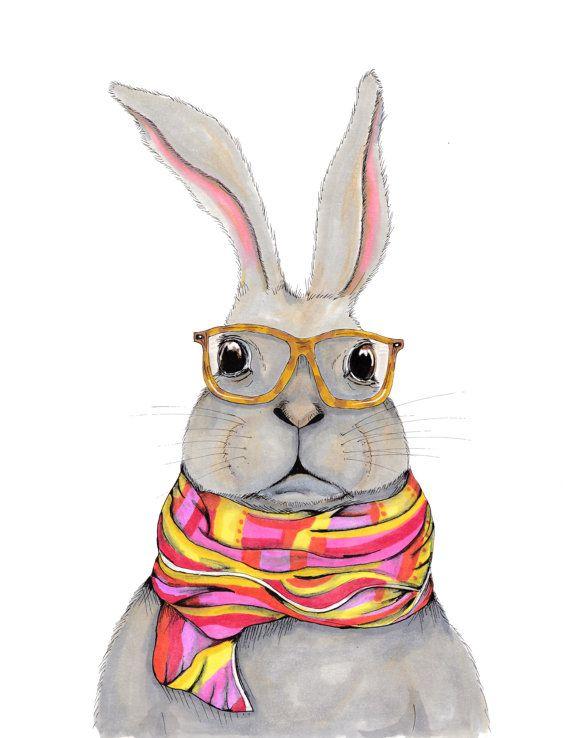 Drawn rabbit hipster Ideas hipster serious bunny art