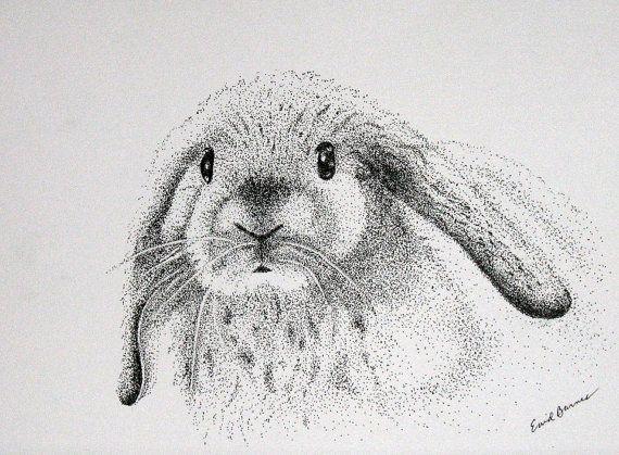 Drawn rabbit ink  a Pictures Pointillism RABBIT