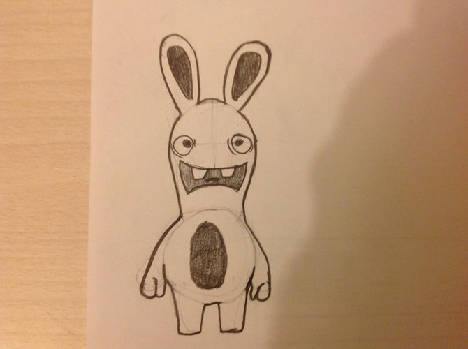 Drawn rabbit invasion Steps Rayman from Raving Draw