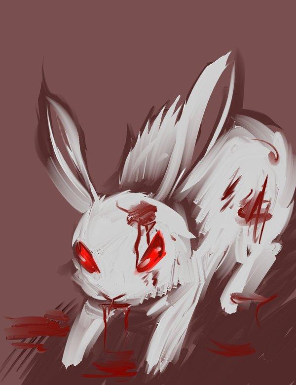 Drawn rabbid killer bunnies Doom rabbit on by of