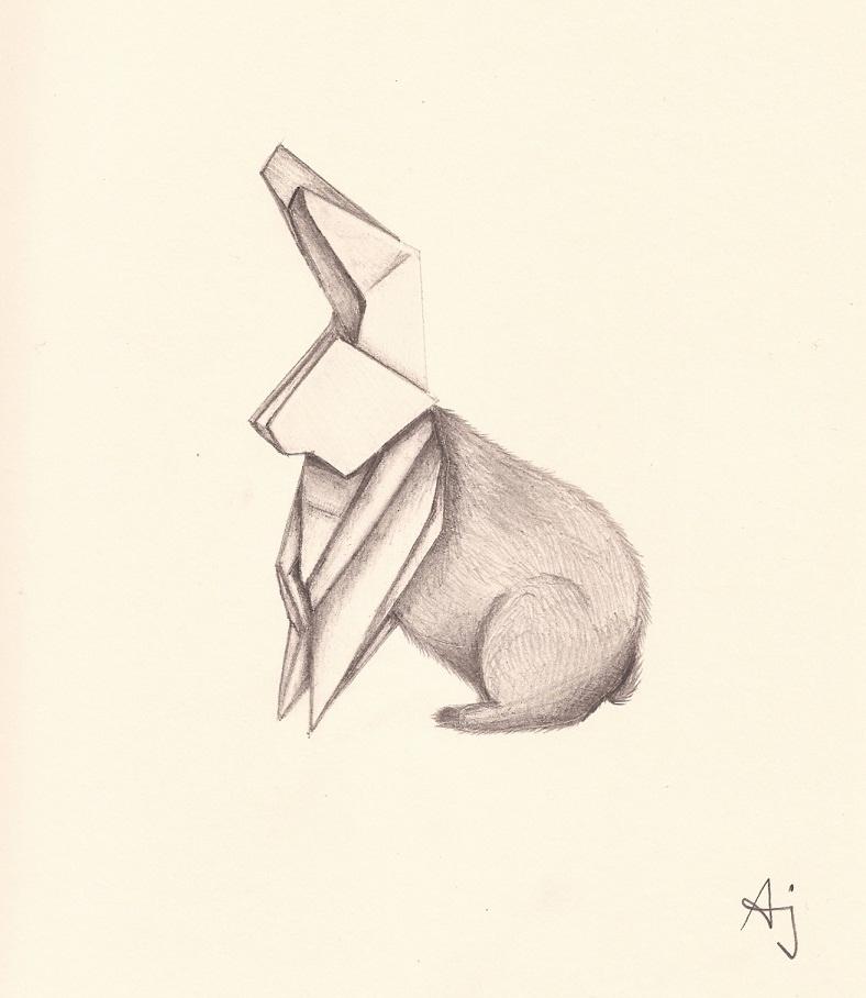 Drawn rabbid origami Drawing bunny origami rabbit origami
