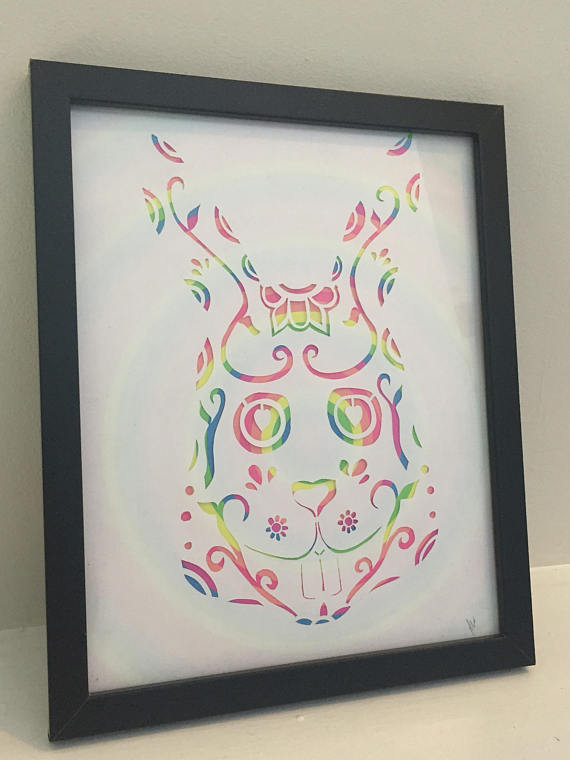 Drawn rabbid psychedelic Art//Alice rabbit  WORLDWIDE skull//animal