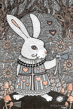 Drawn rabbit psychadelic Inverarity  wall poster psychedelic