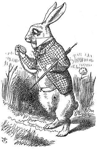 Drawn rabbit psychadelic Alice the A to white