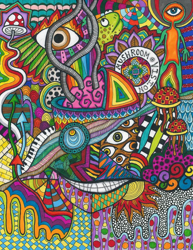 Drawn rabbid psychedelic Colourful Verner by by Liquid