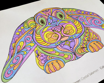 Drawn rabbid psychedelic Easter Coloring Rabbit coloring fun