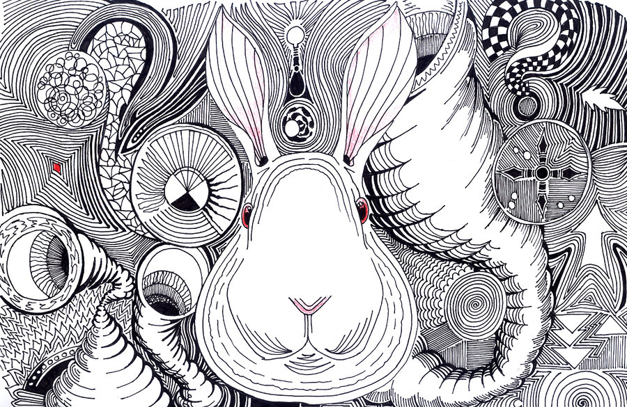 Drawn rabbid psychedelic Rabbit tomhegedus DeviantArt on White