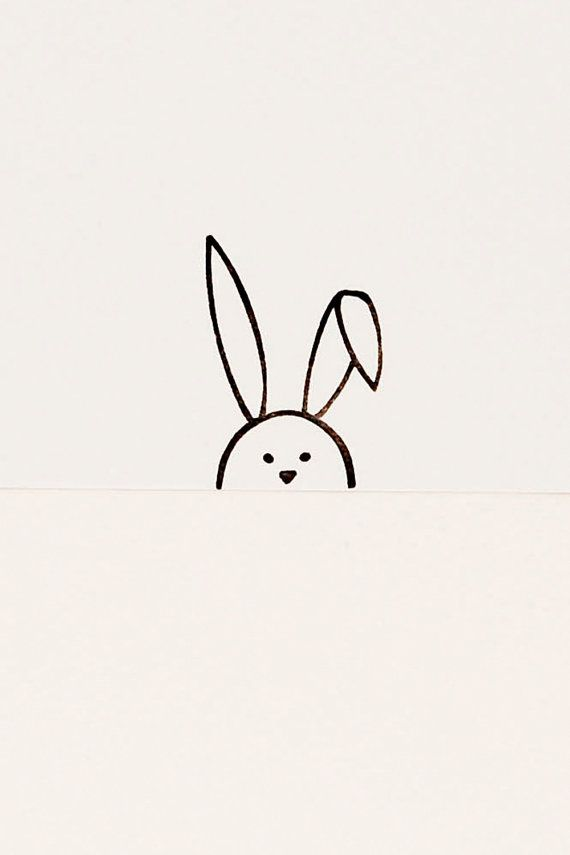 Drawn rabbit simple art Birthday minimalist stamp stamp Pinterest