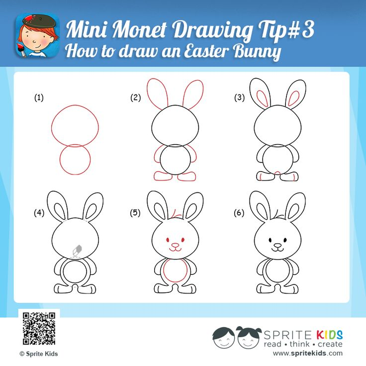 Drawn rabbit step by step A to How step a