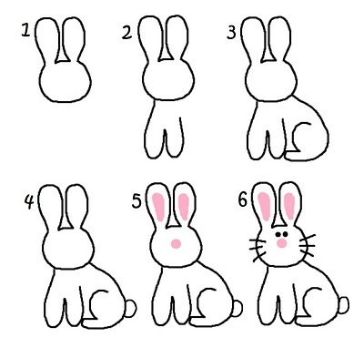 Drawn bunny step by step Fun Pinterest Kids bunny Activity