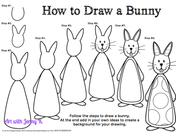 Drawn bunny step by step Rabbit draw step How bunny