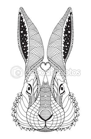 Drawn rabbit stylized Zentangle Rabbit illustration drawn vector