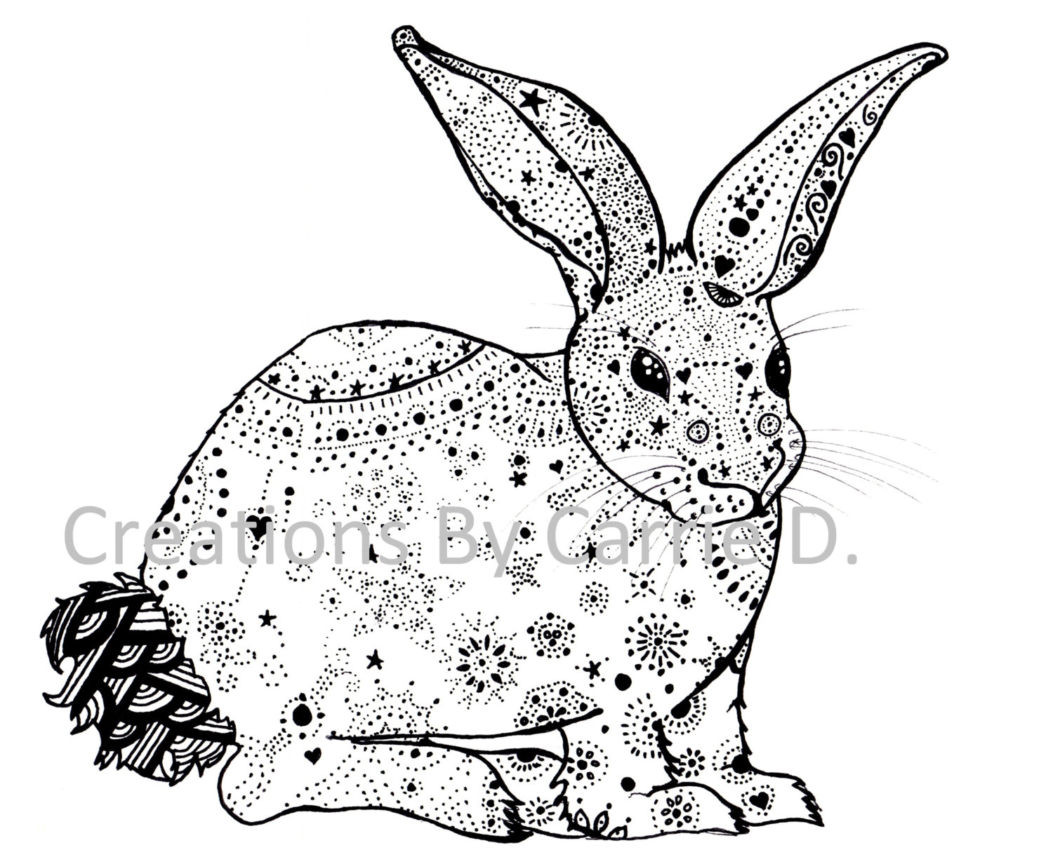Drawn rabbit template And White Art Rabbit Pen