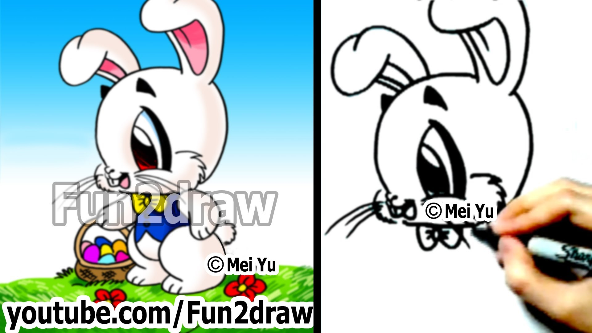 Drawn rabbit youtube easy cartoon Draw to a Bunny Easter