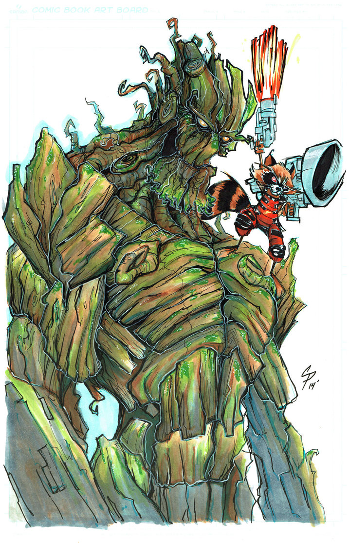 Drawn raccoon groot By Raccoon ColePeterson and Rocket
