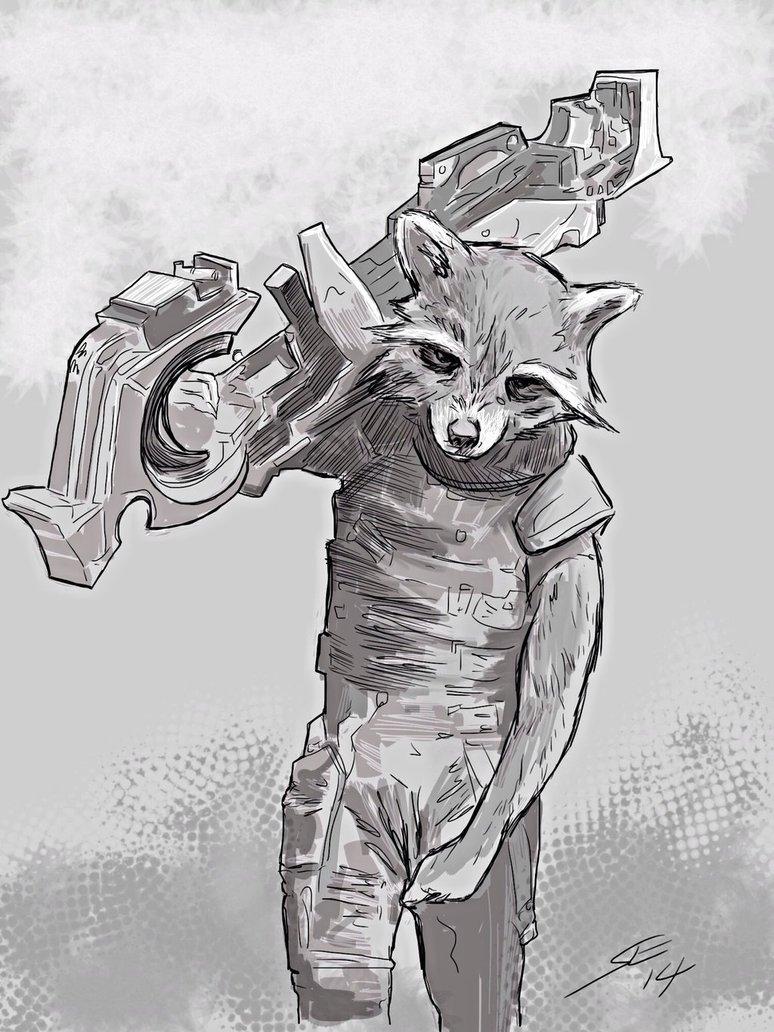 Drawn raccoon rocket Guardians Groot drawing Galaxy Drawing