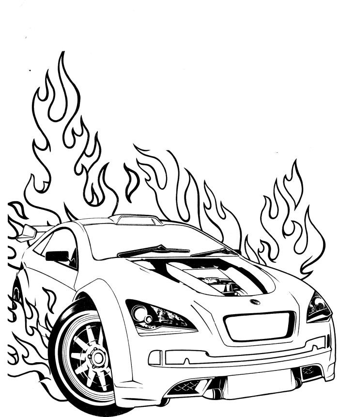 Drawn race car coloring page Wheels Hot Pages Wheels Speed