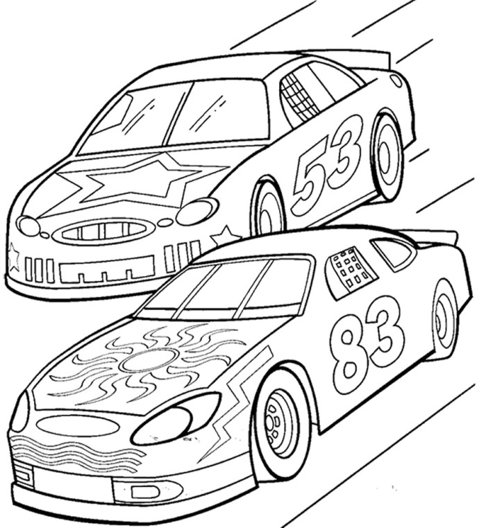 Drawn race car coloring page  Race Page Car Racing