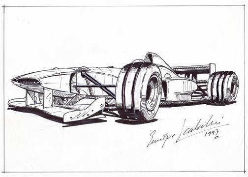Drawn race car f1 car By by 1 racing F1