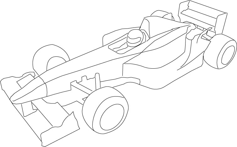 Drawn race car outline F1 Page for Blank toyota