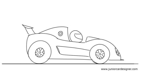 Drawn race car outline Cartoon For Draw a a
