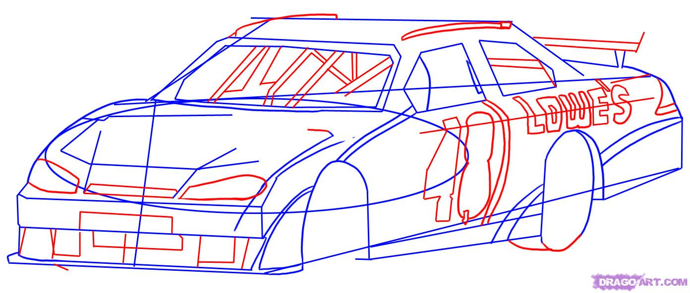 Drawn race car vehicle Race to a Cars Draw