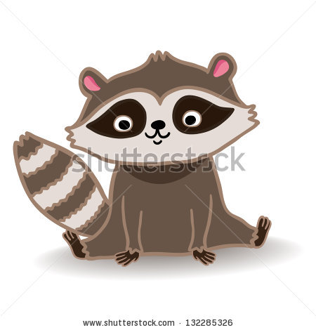 Drawn racoon animated Vector illustration cute illustration stock