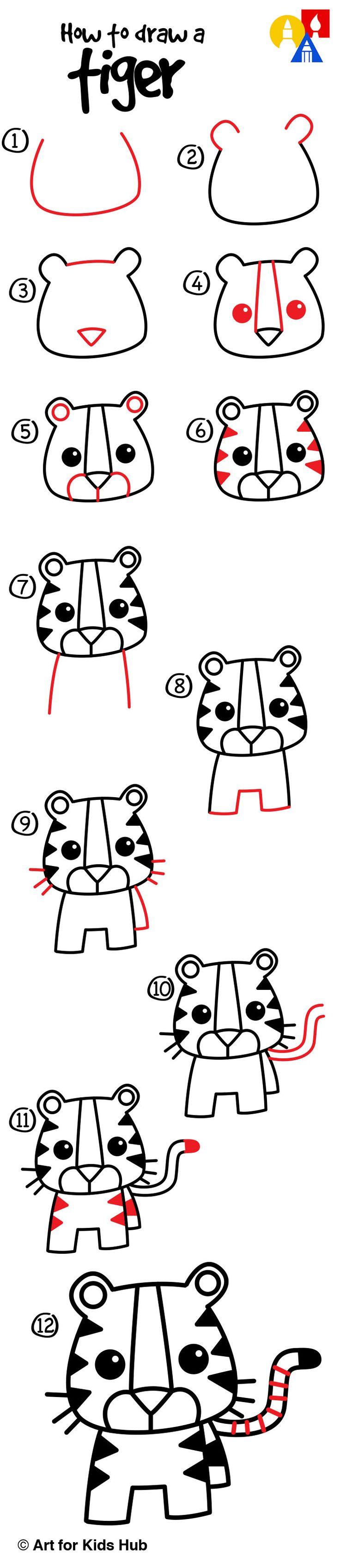 Drawn racoon art for kid hub A Draw Hub Cartoon Tiger