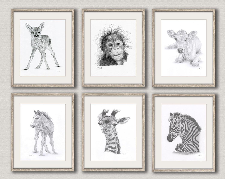 Drawn racoon baby giraffe Set Art Prints Animal 6