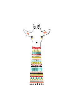 Drawn racoon baby giraffe Children Art Animal Print Kids