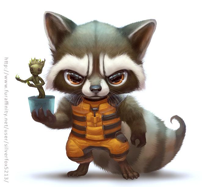Drawn raccoon chibi  raccoon Fur Rocket by