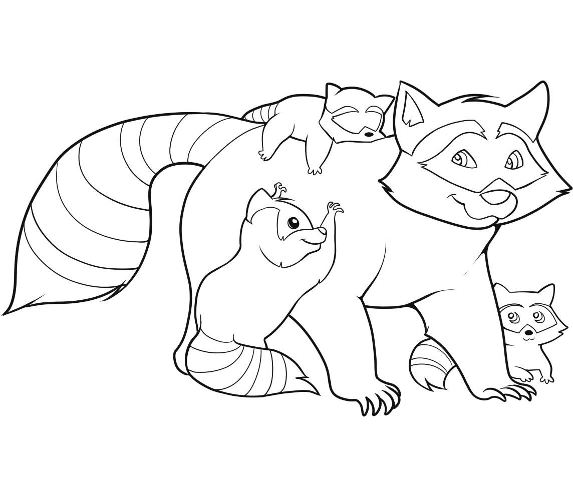 Drawn racoon color Pages For Raccoon Coloring Free