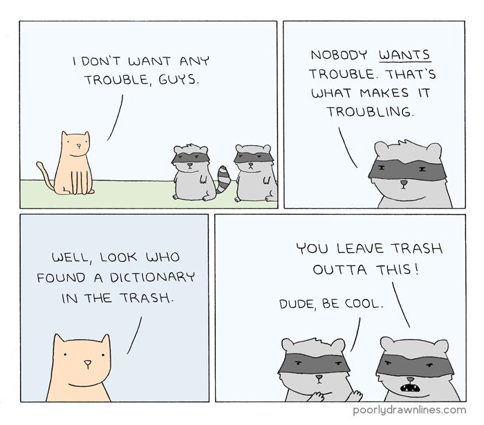 Drawn raccoon comic – trouble Lines Trouble Drawn