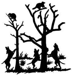 Drawn racoon coon hunting Tree Hunting Window Truck Coon