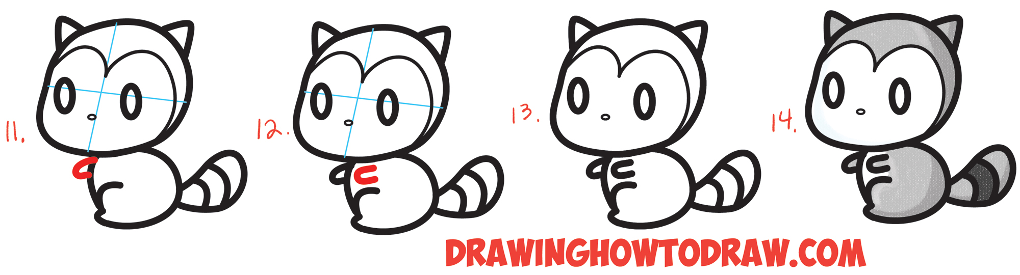 Drawn racoon easy Draw How Chibi with 3