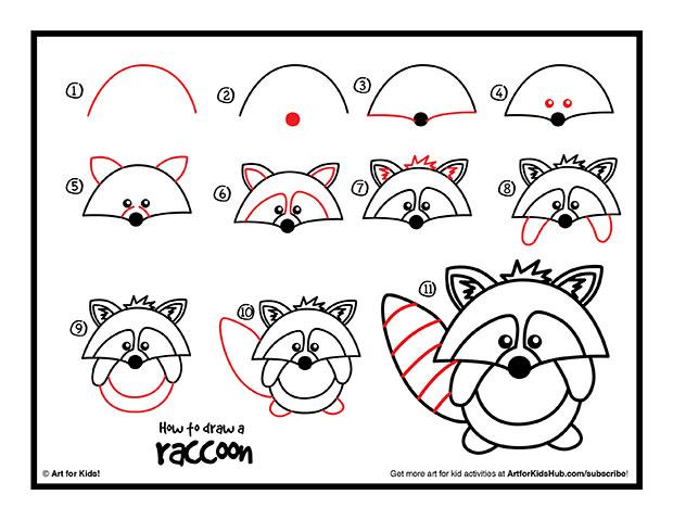 Drawn racoon easy Cute is Draw Art Kids