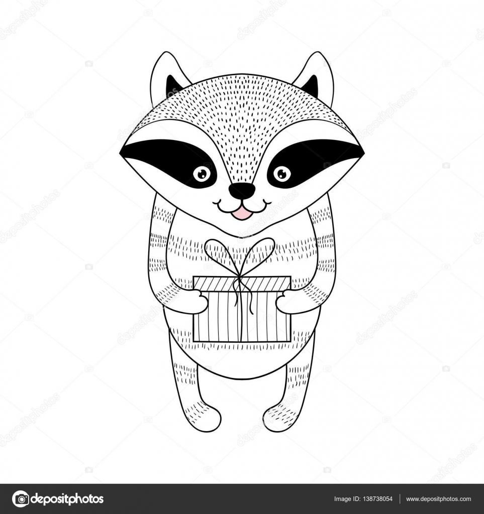 Drawn racoon funny Animal — with  hand