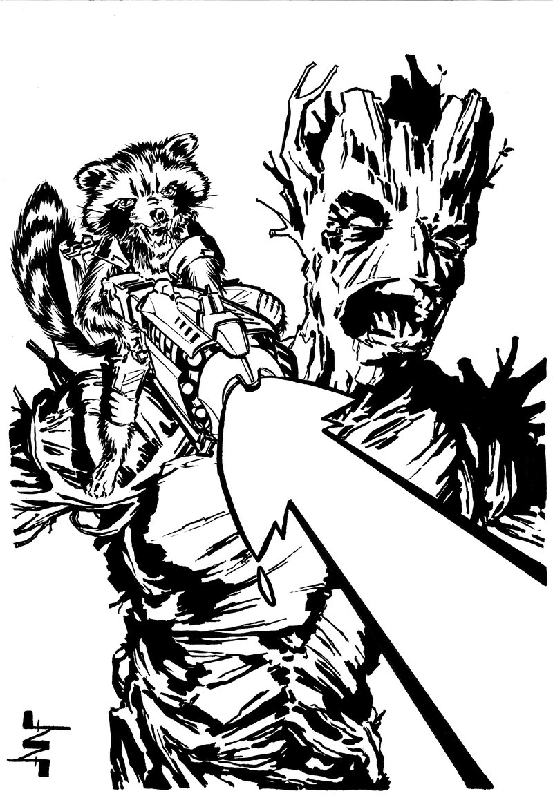 Drawn raccoon groot Groot Raccoon AlbertoNavajo DeviantArt and