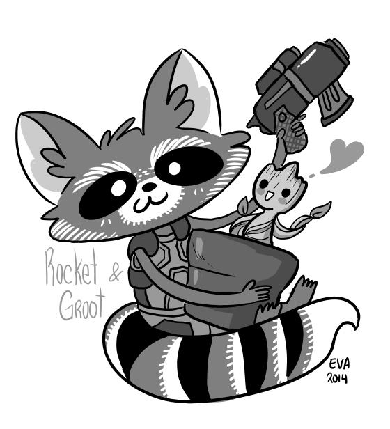 Drawn raccoon groot On Rocket Raccoon  Behance